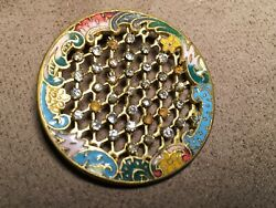 Antique French Large Button Basket Weave Embossed W Multicolor Enamel 1 3/8