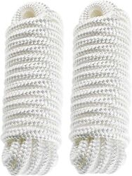 2-pack 1/2 Inch 20ft Double Braided Nylon Dock Line Mooring Rope Boat White Line
