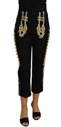 Dolceandgabbana Women Black Pants Wool Blend Military Embroidery Cropped Trousers