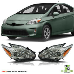 For Toyota Prius 2012 2015 Front Headlights Chrome Housing Clear Lens Lh Rh