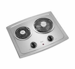Whirlpool 21 In. Smooth Coil Electric Cooktop In Stainless Steel With 2 Elements