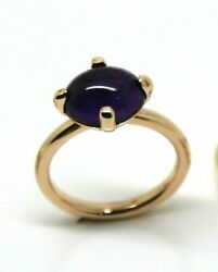 9ct Rose Gold Cabochon Oval Purple Amethyst Stacker Ringfree Express Post In Oz