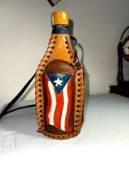 Puerto Rico Decanter Canteen Hand Tooled Leather Wrap / Covered Bottle J11