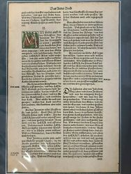 1540 Luther German Bible Leaf Printed By Hans Lufft Das Ander Buch