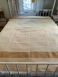Vintage Mustard Yellow Early's Witney Point Wool Trade Camp Blanket Some Damage