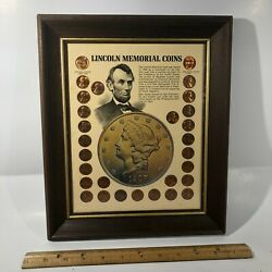 Lincoln Memorial Coins 29 Copper Pennies Framed