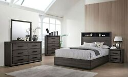 Modern 4pcs Cal King Size Bed Dresser Mirror Nightstand Grey Finger Pull Handle