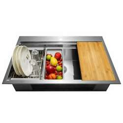 Akdy Handcrafted All-in-one Drop-in 33 In. Single Bowl Kitchen Sink Stainless