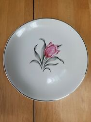 Paden Kenilworth Salad Plate White With Pink Tulip 7 3/8 Inches