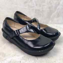Alegria By Pg Lite Black Mary Jane Jill Patent Leather Clogs 38 Comfortable