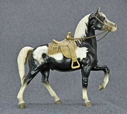 Breyer Western Prancing Horse quot;Cheyennequot; Glossy Black Pinto Complete Lot 3