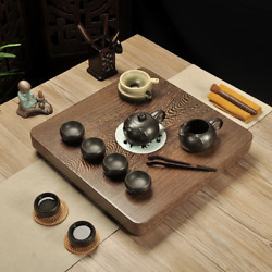 Luxury Wenge Wooden Kung Fu Tea Tray Tea Cup Teapot Set With Water Drain 4242cm