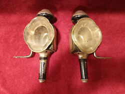Antique Candle Buggy Coach Auto Driving Lantern Lamp Light Bevel Glass Pair