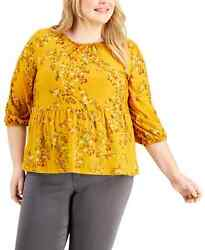 Style And Co Women Golden Crewneck Textured Peplum 3/4-sleeves Top Plus Size 2x