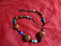 Antique African Moroccan Amber, Coral And Stone Berber Bead Necklace
