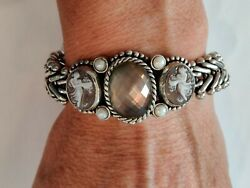 Stephen Dweck Oval Faceted Center, Cameos And Pearls Sterling Silver Bracelet 8