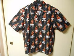 Hawaiian Style Party Shirt Skulls And Flames Matching Front/pocket Made In Usa Xxl
