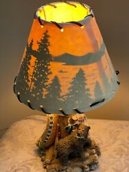Vintage Lamp Rustic Parchment Laced Shade Bear Canoe And Northwoods Scene