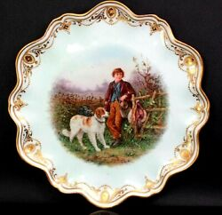 Antique James Rouse Coalport Fine English China The Keeper Son And Dog Plate