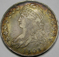 1808/7 O-101 Capped Bust Half Dollar Au++... Monster Coin, Awesome Antique Tone