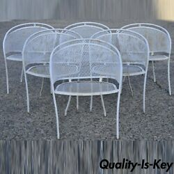 Vintage Mid Century Wrought Iron Barrel Back Patio Dining Arm Chairs - Set Of 6