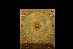 Chinese Han Antique Bronze Gold Plated Inlaid Hetian Jade And Jewel Mirror
