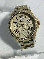 Fossil Am4482 Gold Tone Analog Womenand039s Watch Used New Battery