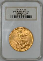 1908 Saint Gaudens Gold Double Eagle No Motto 20 - Ngc Ms65 - Old Holder