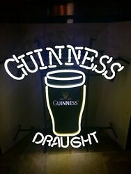 Guinness Beer Pint Glass Neon Light Up Sign Pub Game Room Man Cave Irish New