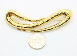 Henry Dunay Vintage Estate 18k Solid Yellow Gold Hammered Finish Pin Brooch