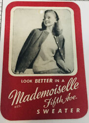 1960s Mademoiselle Fifth Ave Sweater Label Pretty Girl Vintage Red And White