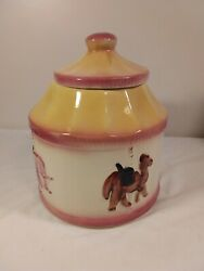 Vintage American Bisque Cookie Jar Canister Merry Go Round Carousel Yellow Ivory