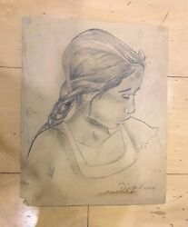 Diego Rivera Graphite On Paper Signed