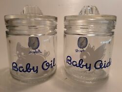 2 Vintage Baby All Nursery Glass Jars W/lids Blue Baby Oil And Baby Aids
