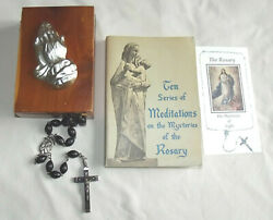 Rosary Special Large Wood Beads W/cedar Box Praying Hands Prayer Booklet And Card