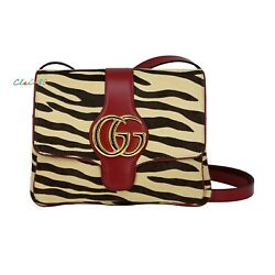 New Authentic Arli Tiger Print Haircalf And Leather Shoulder Bag