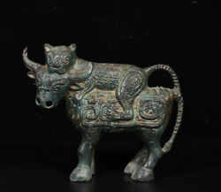 A Fine Collection Of Chinese 2thbc Han Antique Bronze Statue Tiger Eat Ox
