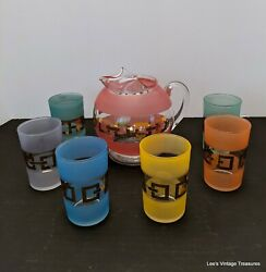 Mid Century Modern Glass Pitcher 6 Matching Tumbler Glasses 1950and039s Colored