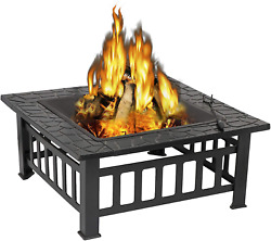 32andrsquoandrsquo Outdoor Fire Pits Bbq Square Firepit Table Backyard Patio Garden Fire