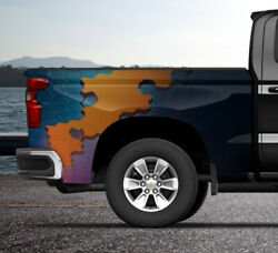 Blue Hexagon Color Block Truck Wrap Vinyl Bed Side Graphic Decal Tailgate Dsps
