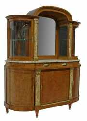 Antique Server, Sideboard, Display, French Marble-top Burlwood, Mirror, 1900's
