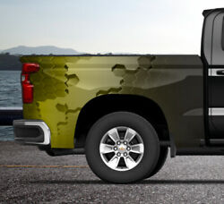 Yellow Hexagon Color Block Truck Wrap Vinyl Bed Side Graphic Decal Tailgate Dsps