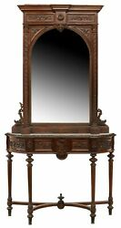 Antique Mirror Console Entryway, Renaissance Revival Carved Walnut, Early 1900s