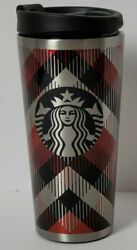 Starbucks 2014 Red And Silver Plaid Stainless Steel Travel Mug Coffee Cup 16oz