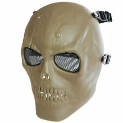 Mfh Skull Full Face Protector Airsoft Paintball Outdoor Tpr Khaki