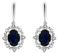 2.16ct Diamond And Aaa Sapphire 14kt White Gold 3d Oval Filigree Hanging Earrings