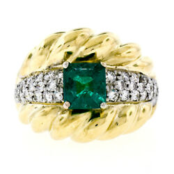 Vintage 18k Two Tone Gold 2.29ctw Gia Colombian Emerald And Diamond Cocktail Ring