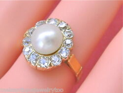 Antique 8mm Natural Pearl 1ctw Mine Diamond Halo Cocktail 18k Cluster Ring 1930