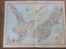 Antique Colour Map New Zealand North And South Islands C1904 Harmsworth Atlas