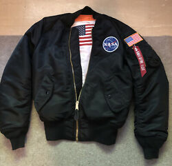 Alpha Industries Blood Chit Black Ma-1 Bomber Jacket W/ Nasa And Flag Patch Xs